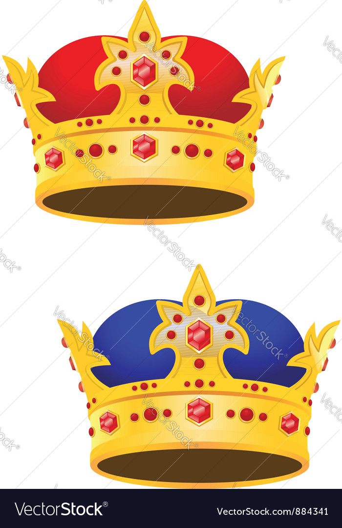 Golden king crown with gems vector | Price: 1 Credit (USD $1)