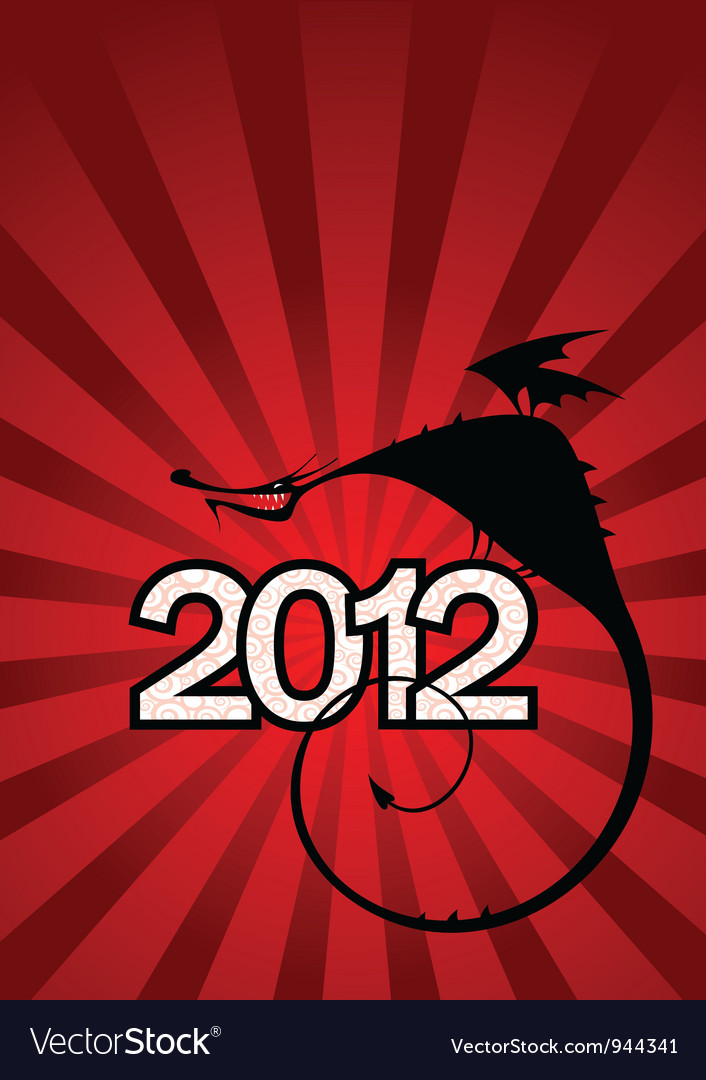 New year card with dragon symbol of 2012 vector | Price: 1 Credit (USD $1)
