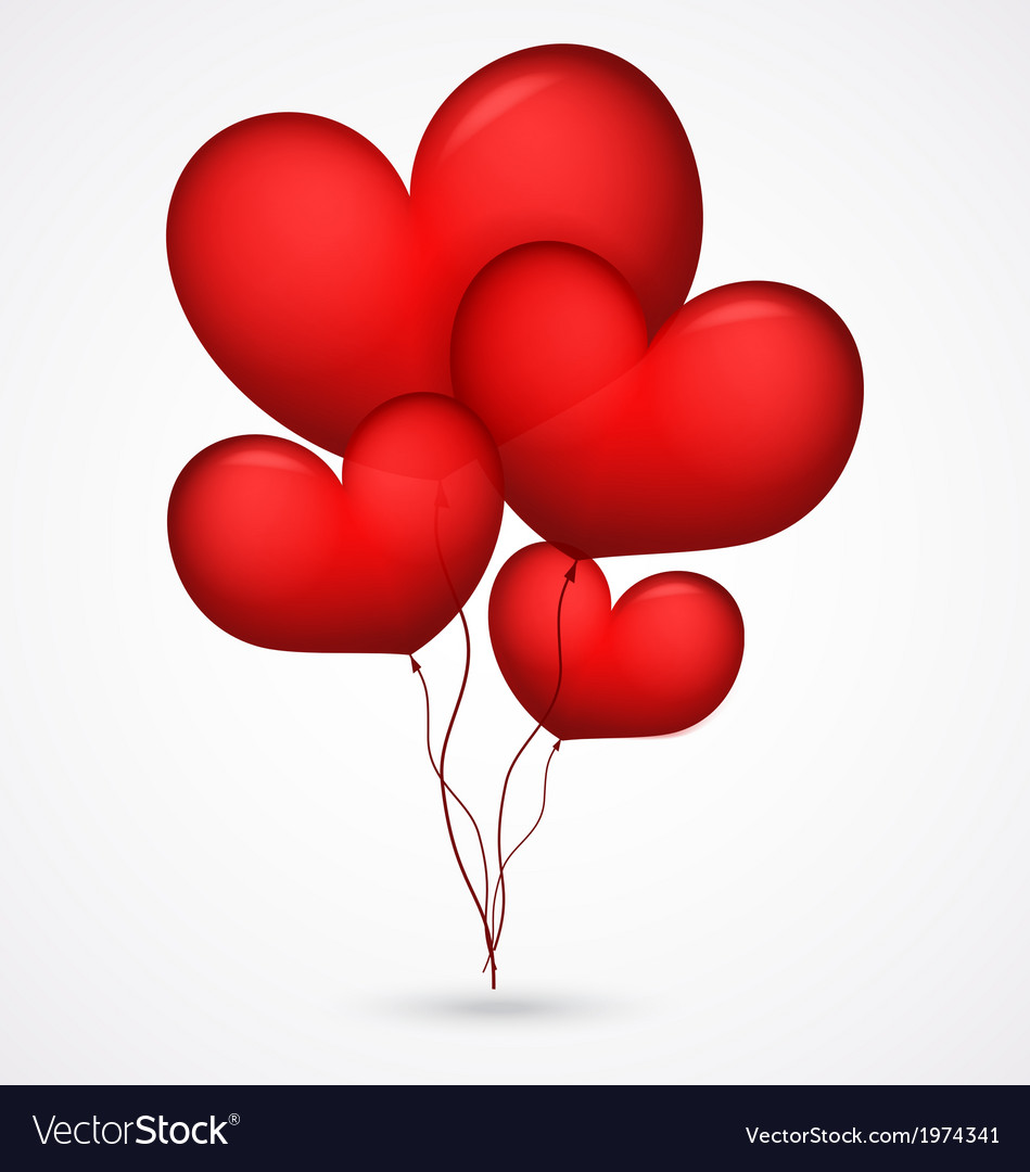 Red balloon heart shape vector | Price: 1 Credit (USD $1)