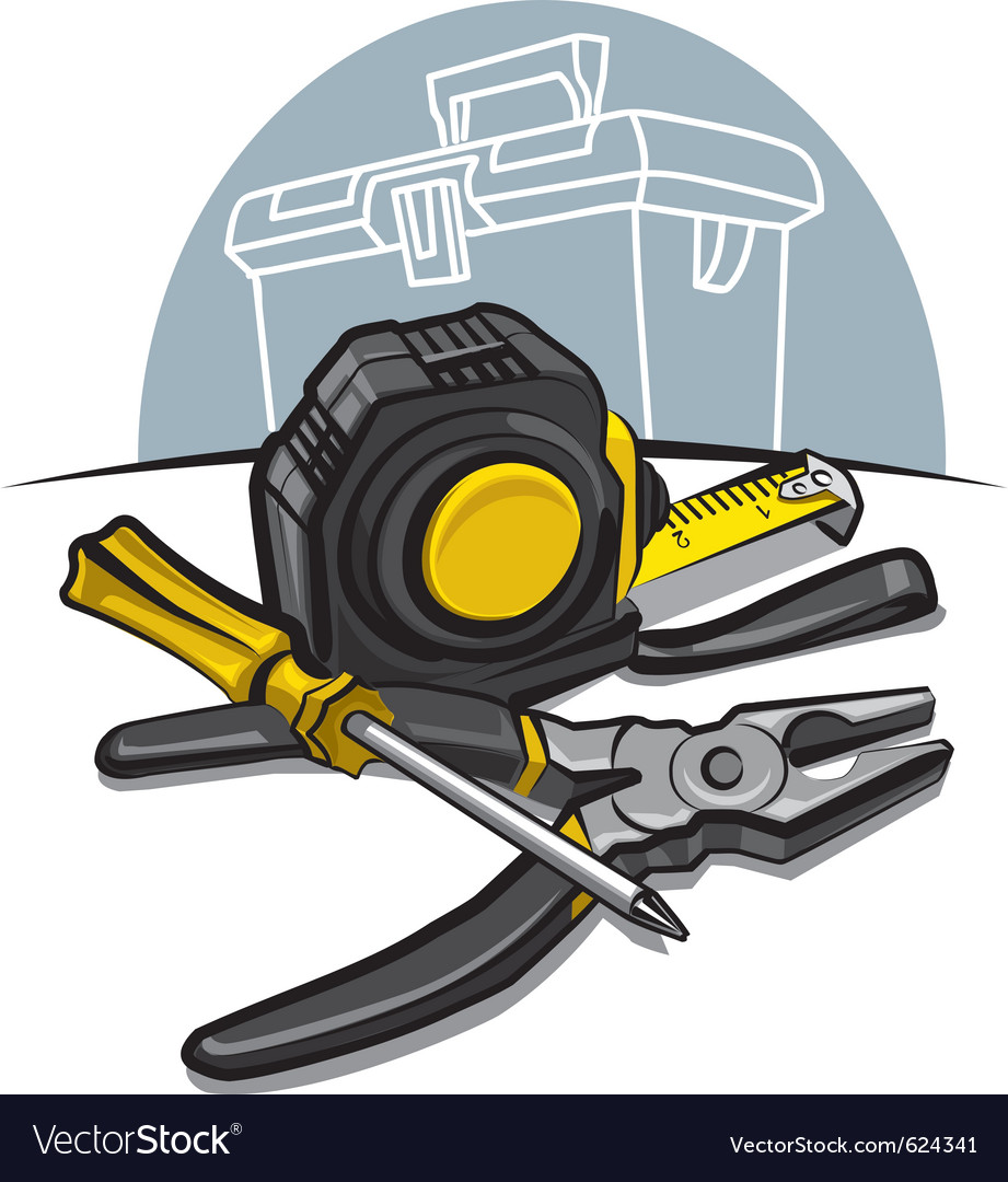 Screwdrive pliers and tape measure vector | Price: 3 Credit (USD $3)