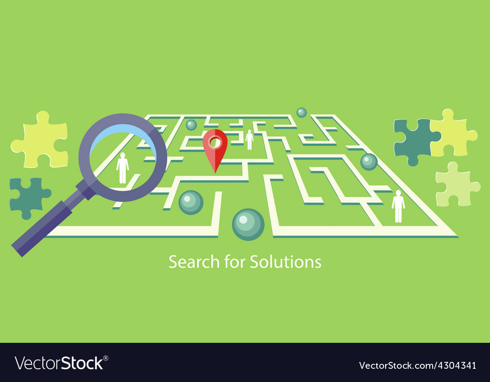 Search for solution maze vector | Price: 1 Credit (USD $1)