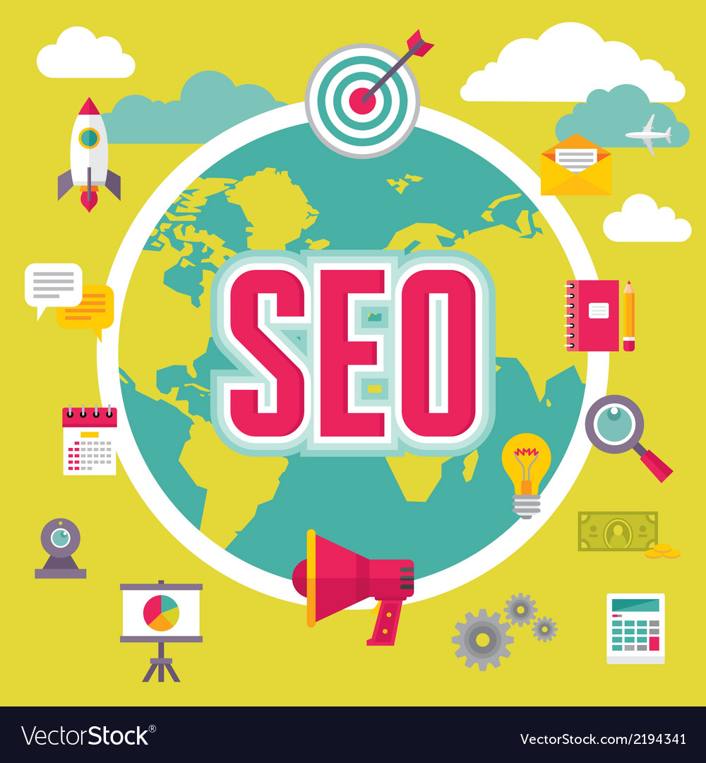 Seo - search engine optimization - in flat design vector | Price: 1 Credit (USD $1)