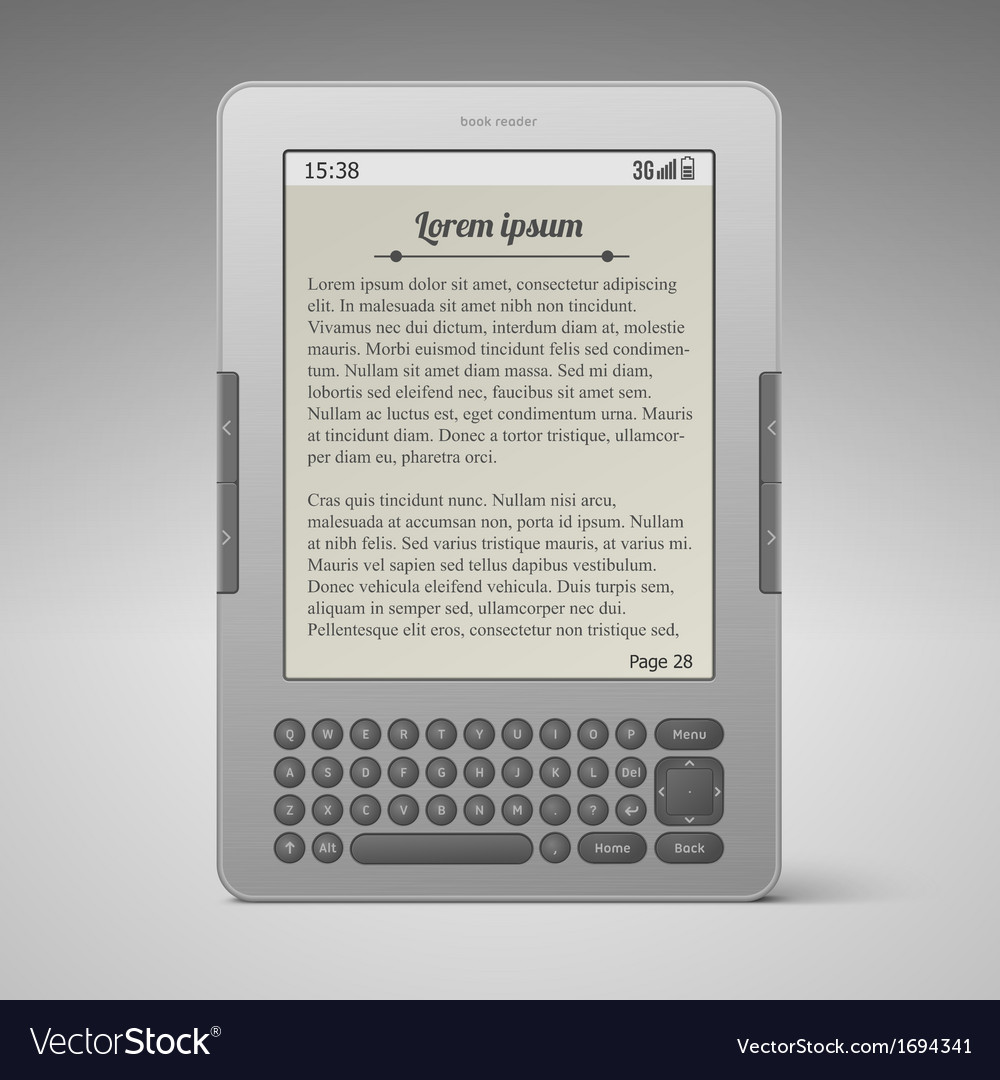 Silver digital keybord book reader vector | Price: 1 Credit (USD $1)