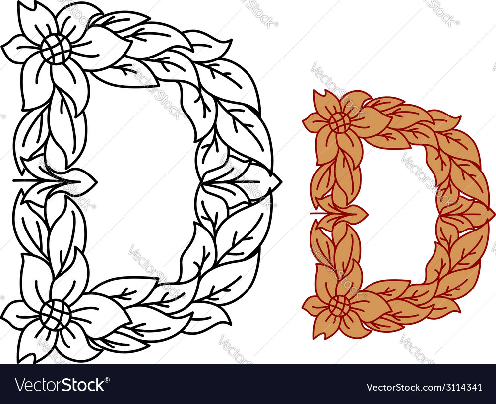 Uppercase letter d in a floral and foliate design vector | Price: 1 Credit (USD $1)