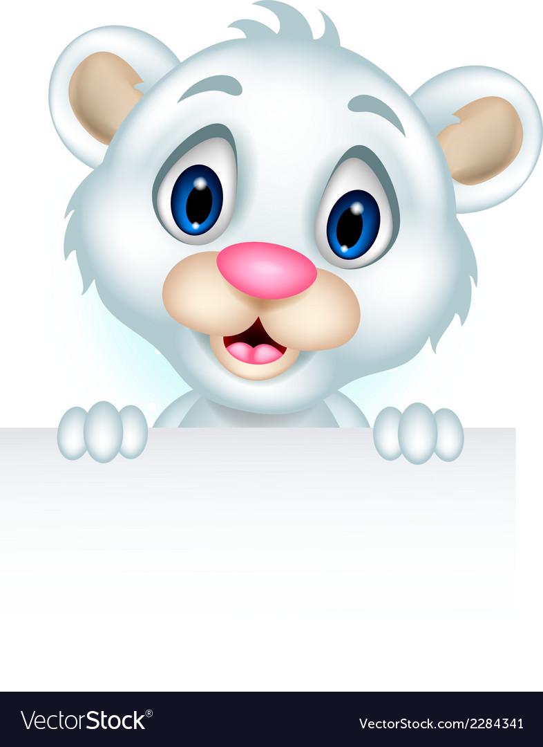 Ute little polar bear holding blank sign vector | Price: 1 Credit (USD $1)