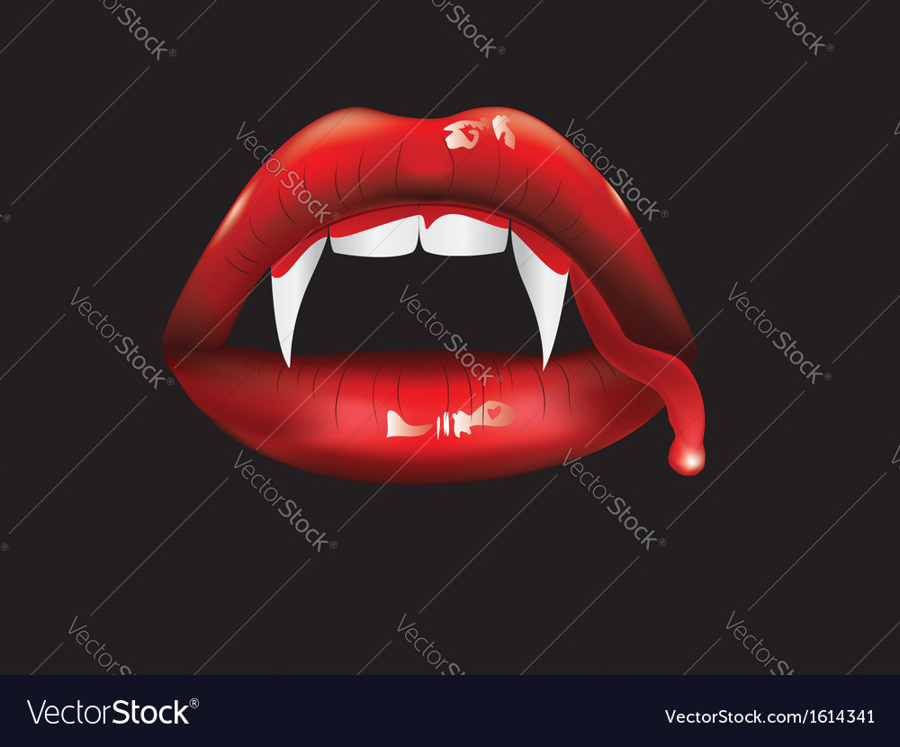 Vampire lips with blood2 vector