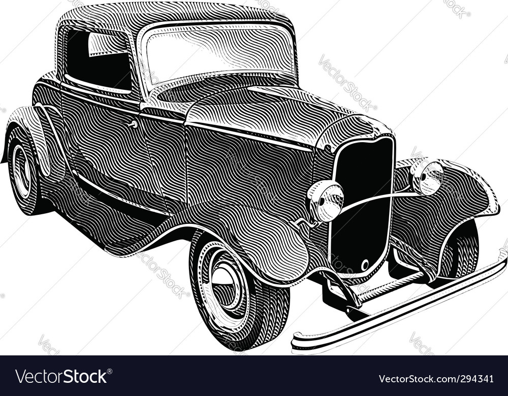 Vintage muscle car engraving vector | Price: 1 Credit (USD $1)