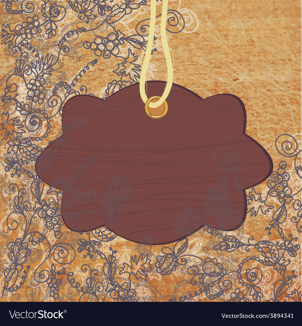 Wooden frame on the abstract floral background vector | Price: 1 Credit (USD $1)