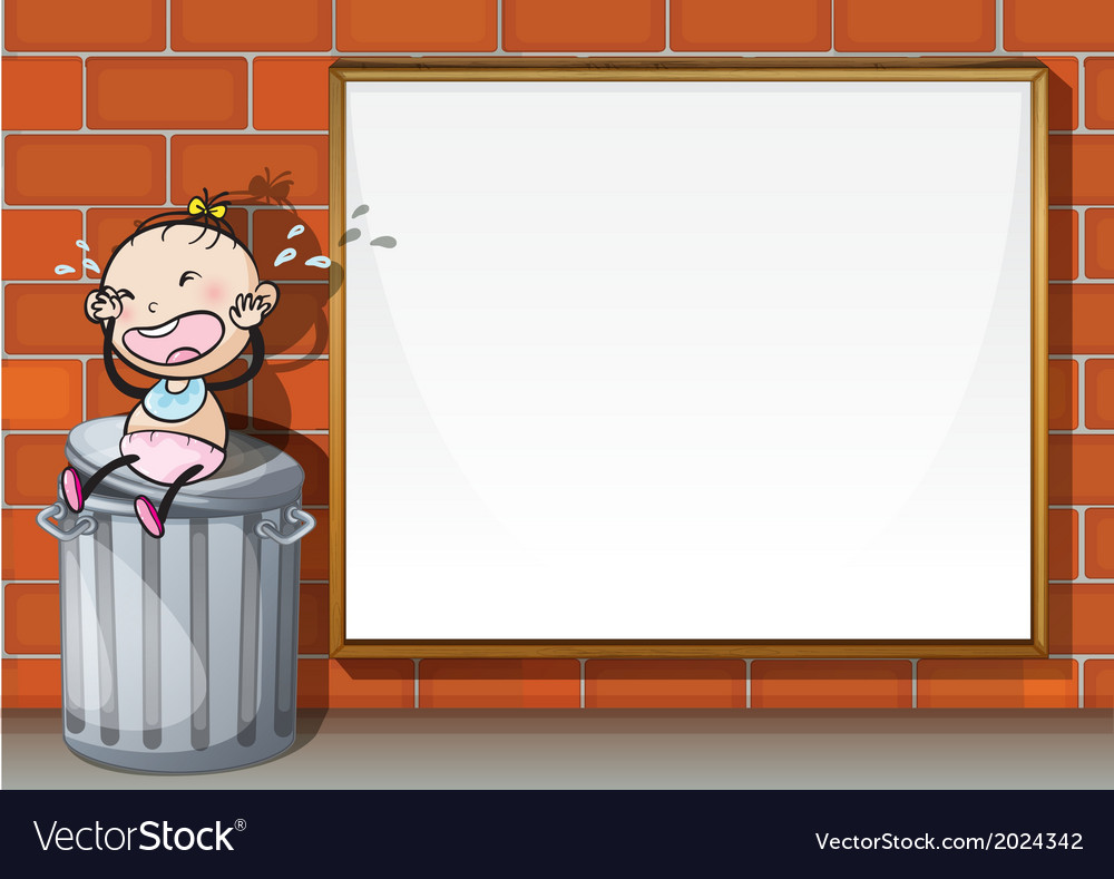 A child above the trashbin beside the empty wooden vector | Price: 1 Credit (USD $1)