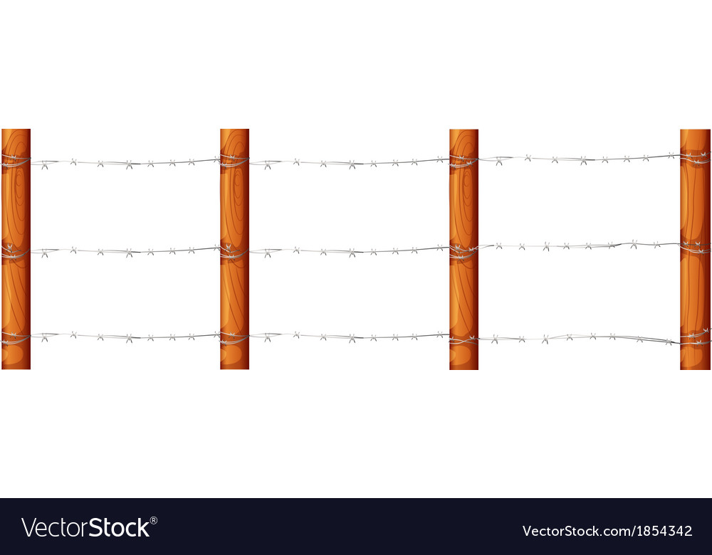 A wooden fence with barbwires vector | Price: 1 Credit (USD $1)