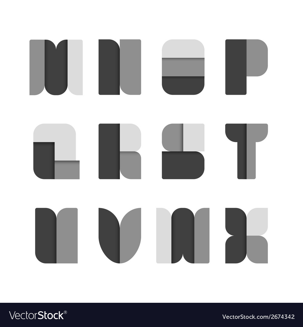 Alphabet set paper black style vector | Price: 1 Credit (USD $1)