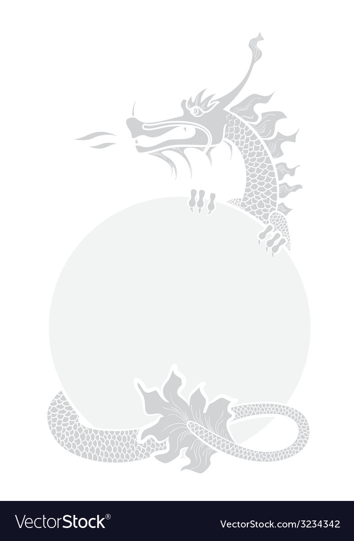 Chinese dragon greyscale vector | Price: 1 Credit (USD $1)