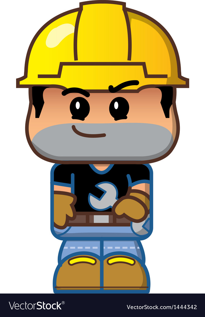 Cute cartoon construction worker vector | Price: 1 Credit (USD $1)