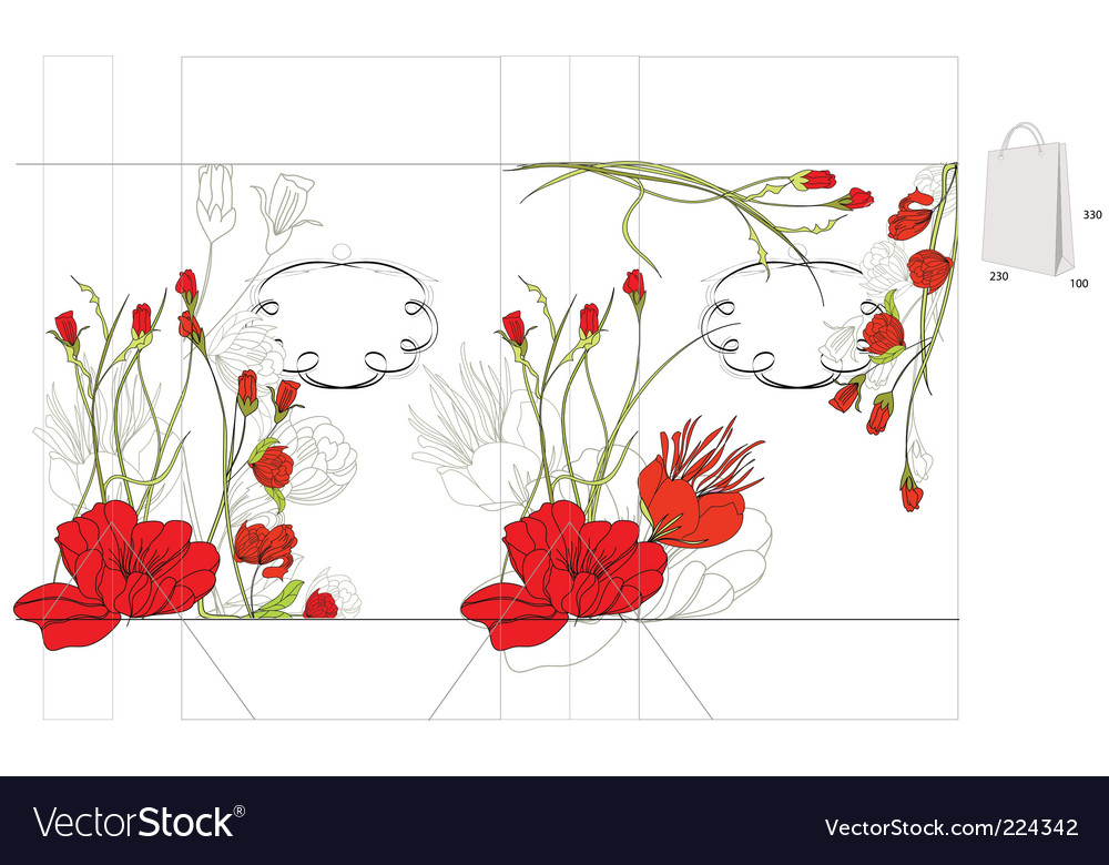 Decorative bag with red flowers vector | Price: 1 Credit (USD $1)