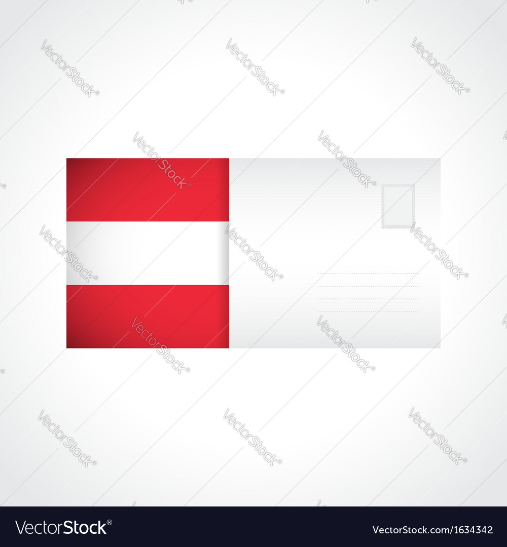 Envelope with austrian flag card vector | Price: 1 Credit (USD $1)