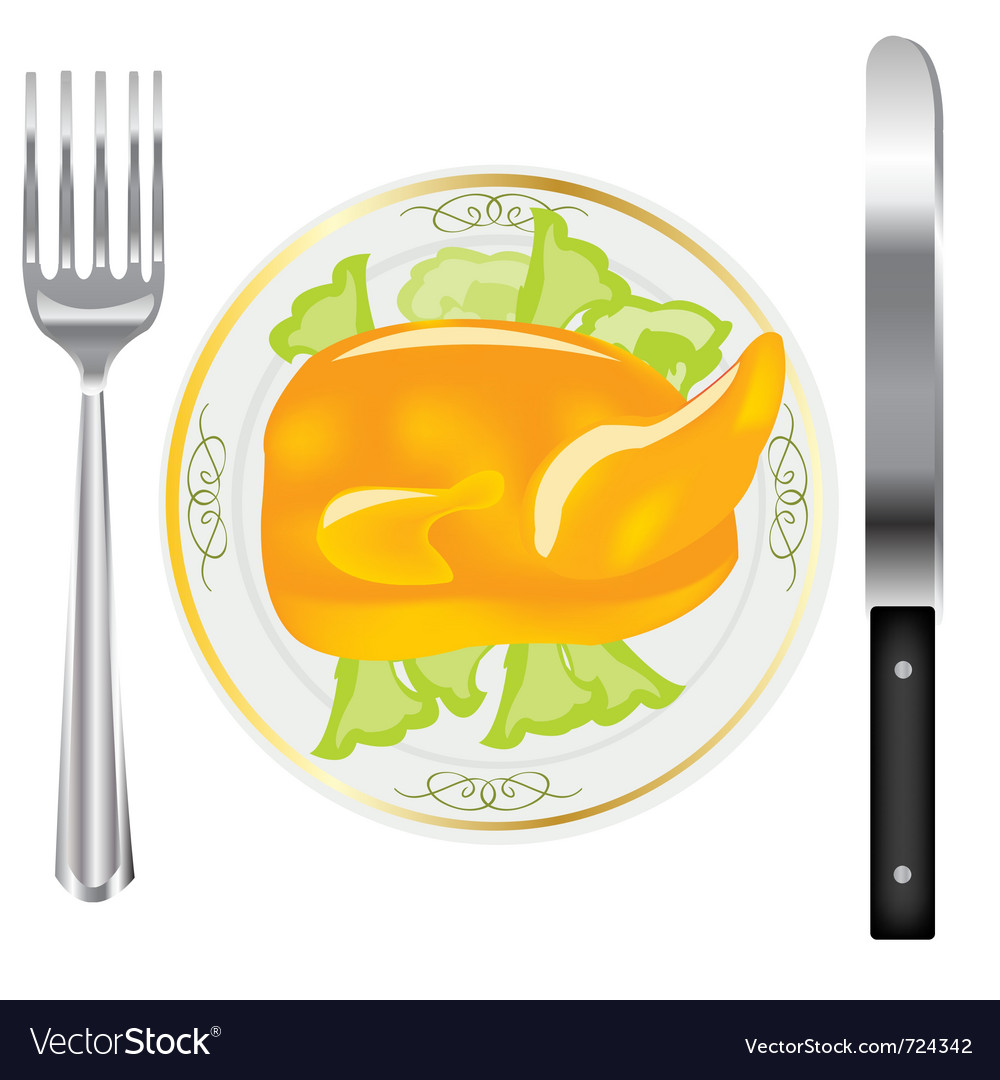 Fried ham on plate vector