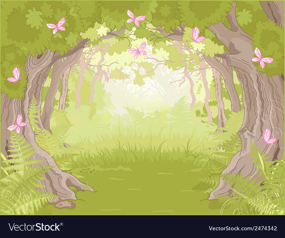 Glade in magic forest vector | Price: 1 Credit (USD $1)