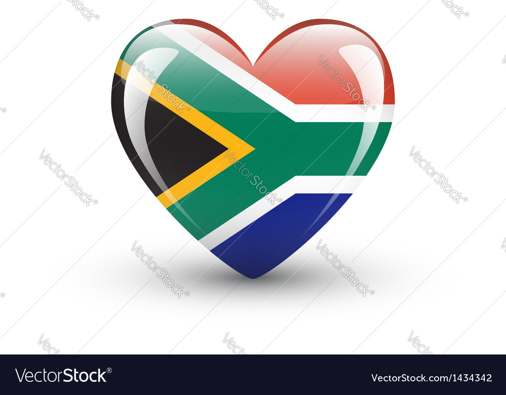 Heart-shaped icon with flag of south africa vector | Price: 1 Credit (USD $1)