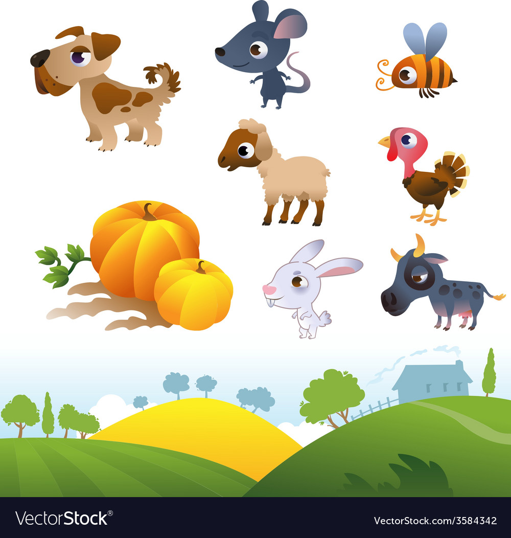 Isolated cartoon farm animals on white background vector | Price: 1 Credit (USD $1)