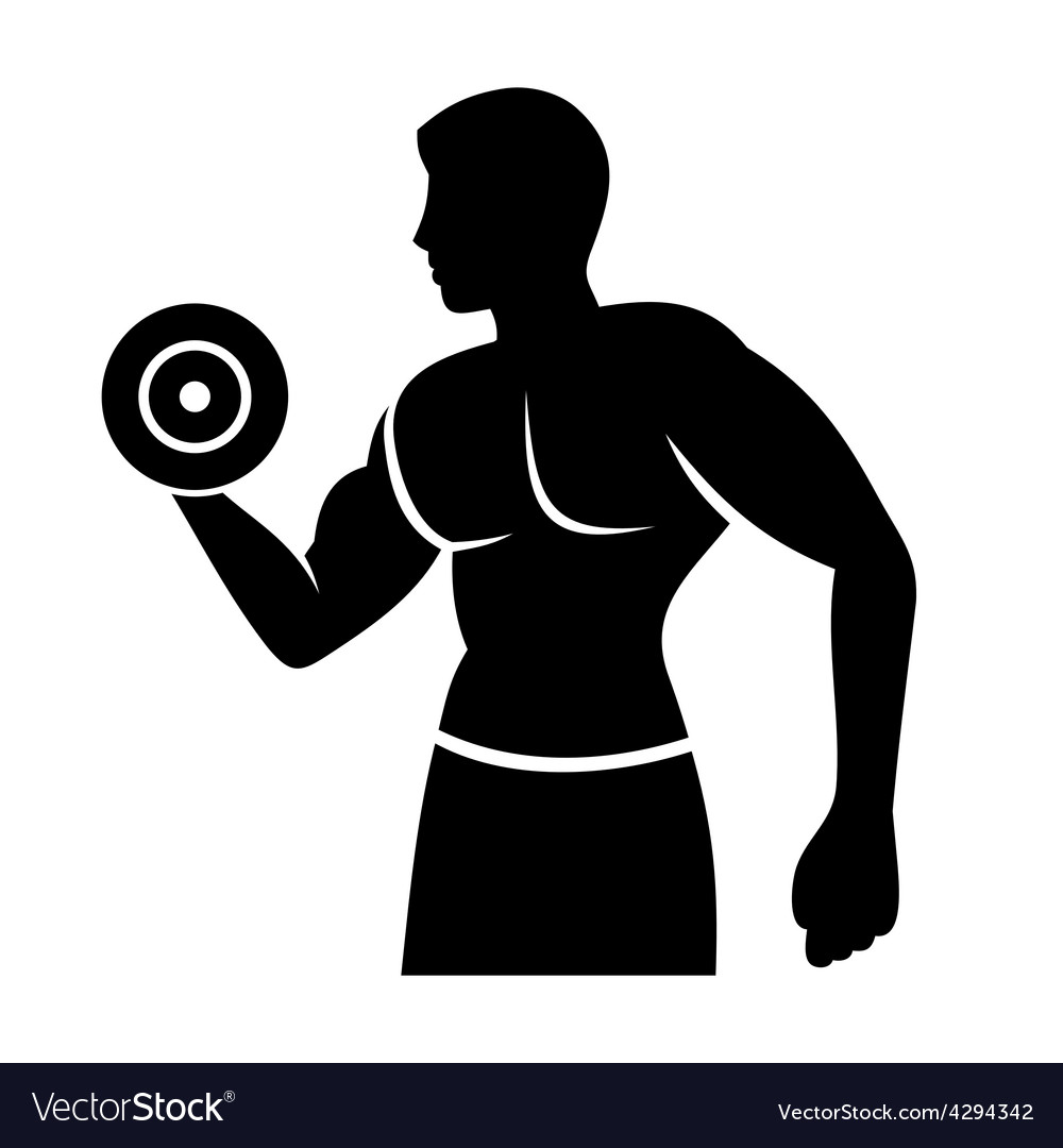 Muscular man silhouette lifting weights fitness vector | Price: 1 Credit (USD $1)