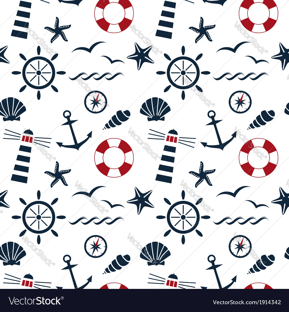 Nautical seamless pattern white vector | Price: 1 Credit (USD $1)