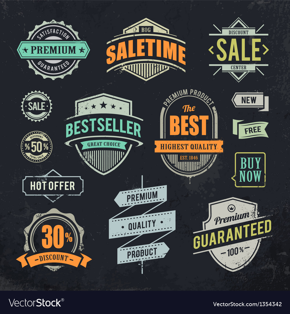 Sale retro labels vector | Price: 1 Credit (USD $1)
