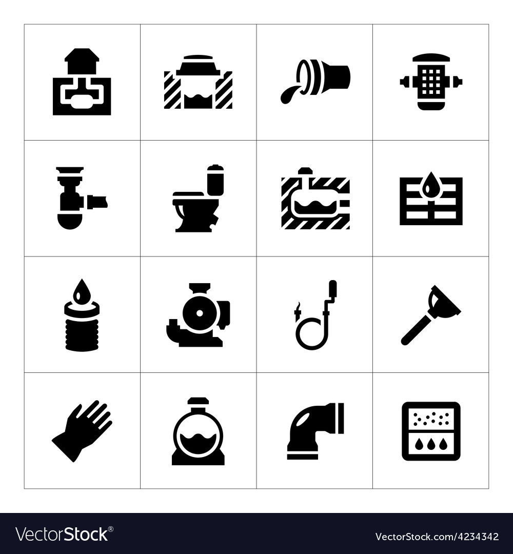 Set icons of sewerage vector | Price: 1 Credit (USD $1)