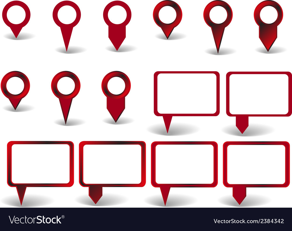 Set of red pointers on white background with vector | Price: 1 Credit (USD $1)