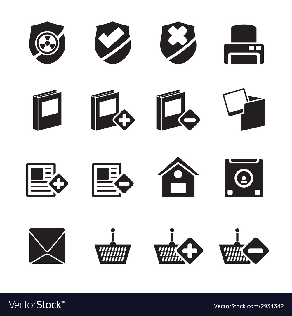 Silhouette internet and website buttons and icons vector | Price: 1 Credit (USD $1)