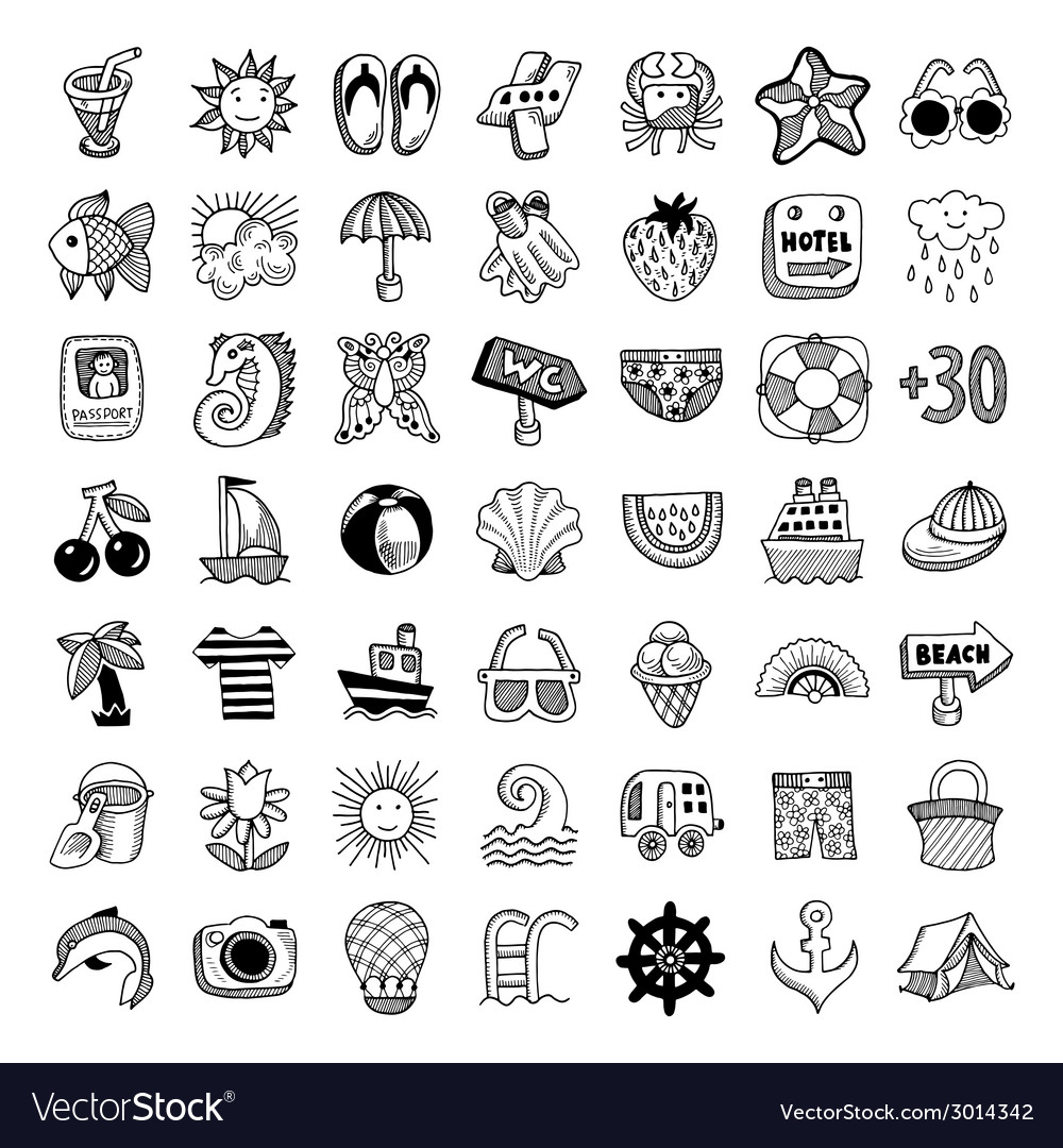 Sketch icon set of summer theme vector | Price: 1 Credit (USD $1)