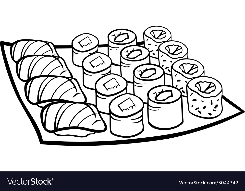 Sushi lunch cartoon coloring page vector | Price: 1 Credit (USD $1)