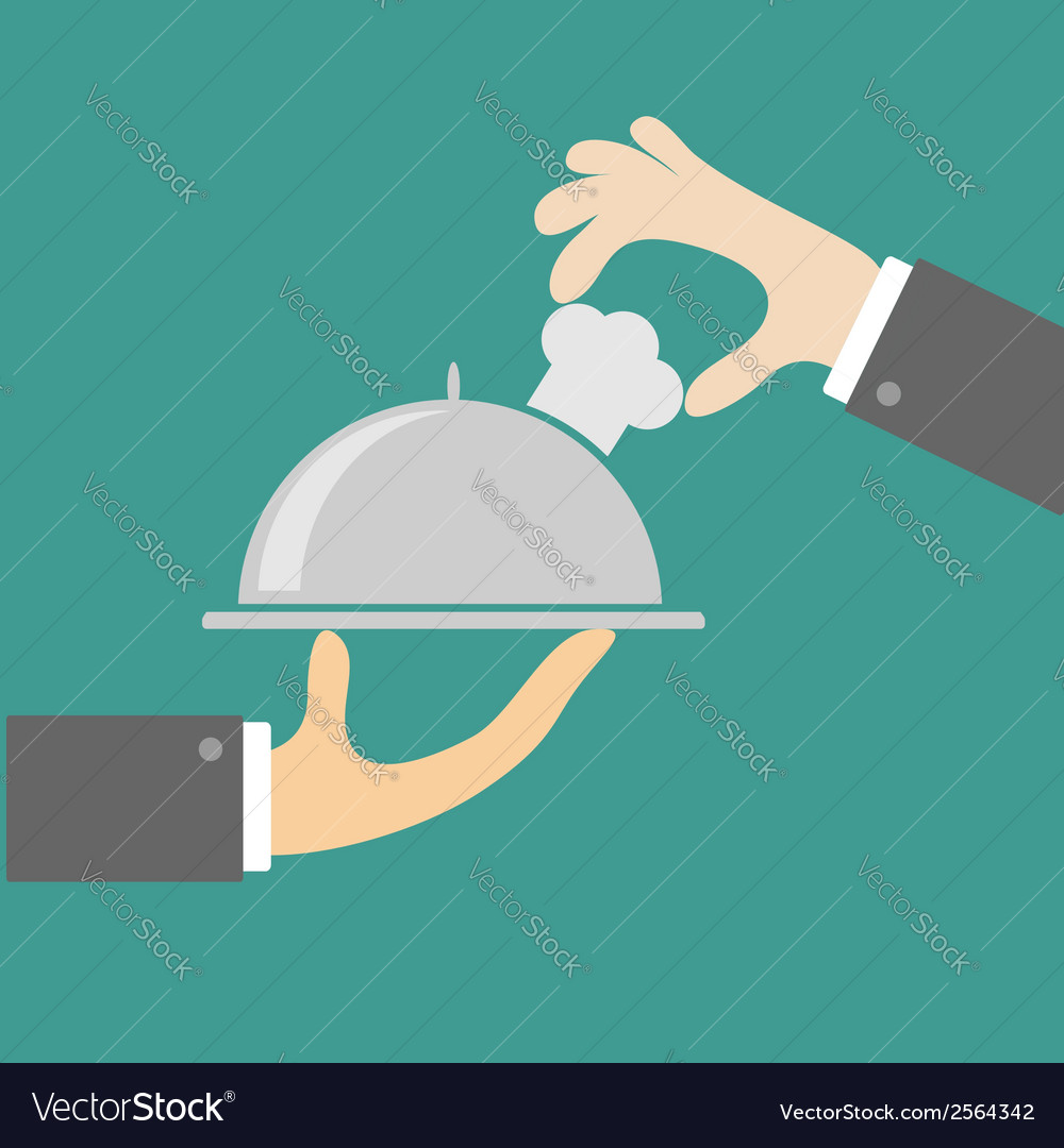 Two waiter hands with silver platter cloche vector | Price: 1 Credit (USD $1)