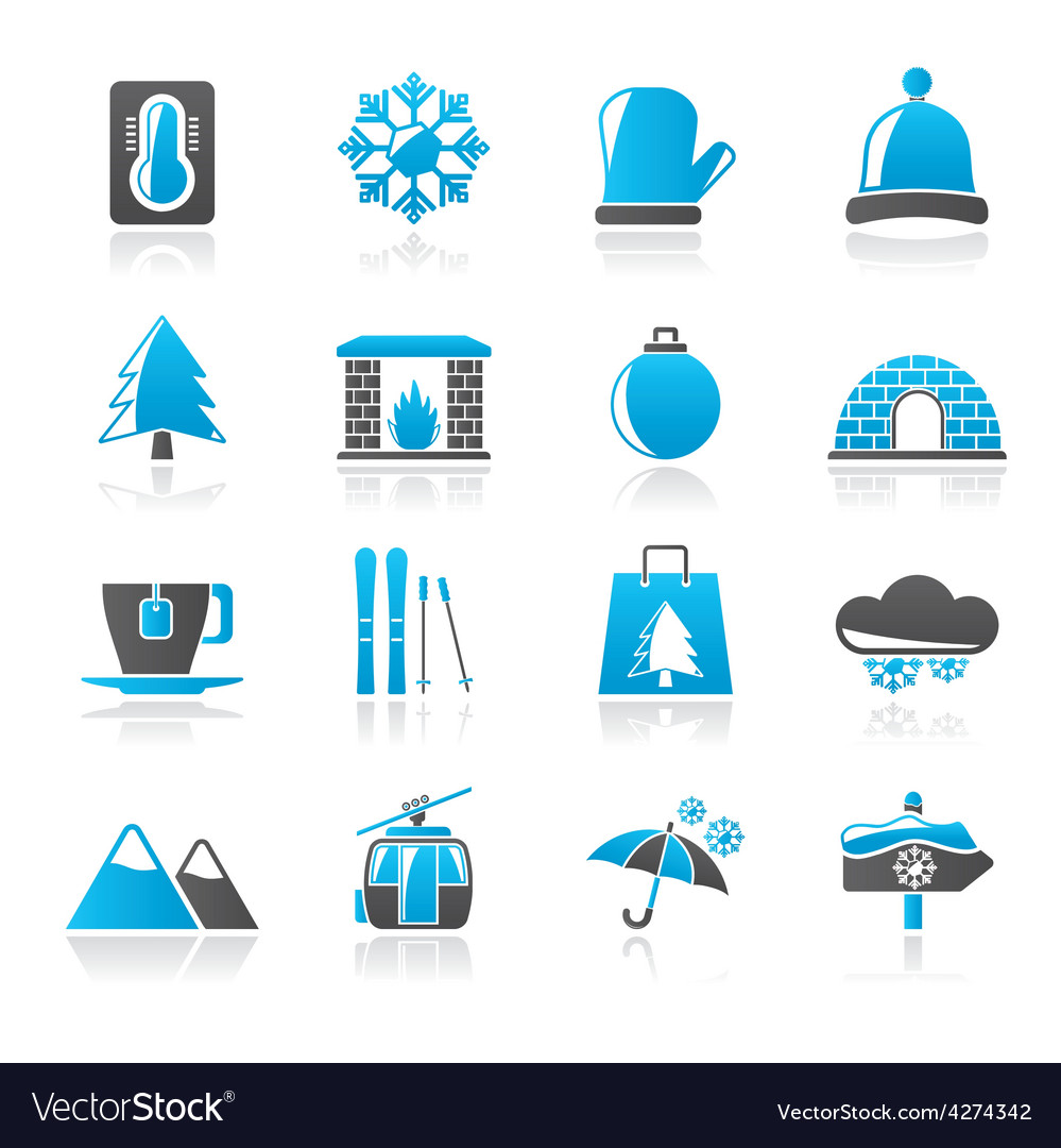 Winter sport and relax icons vector | Price: 1 Credit (USD $1)