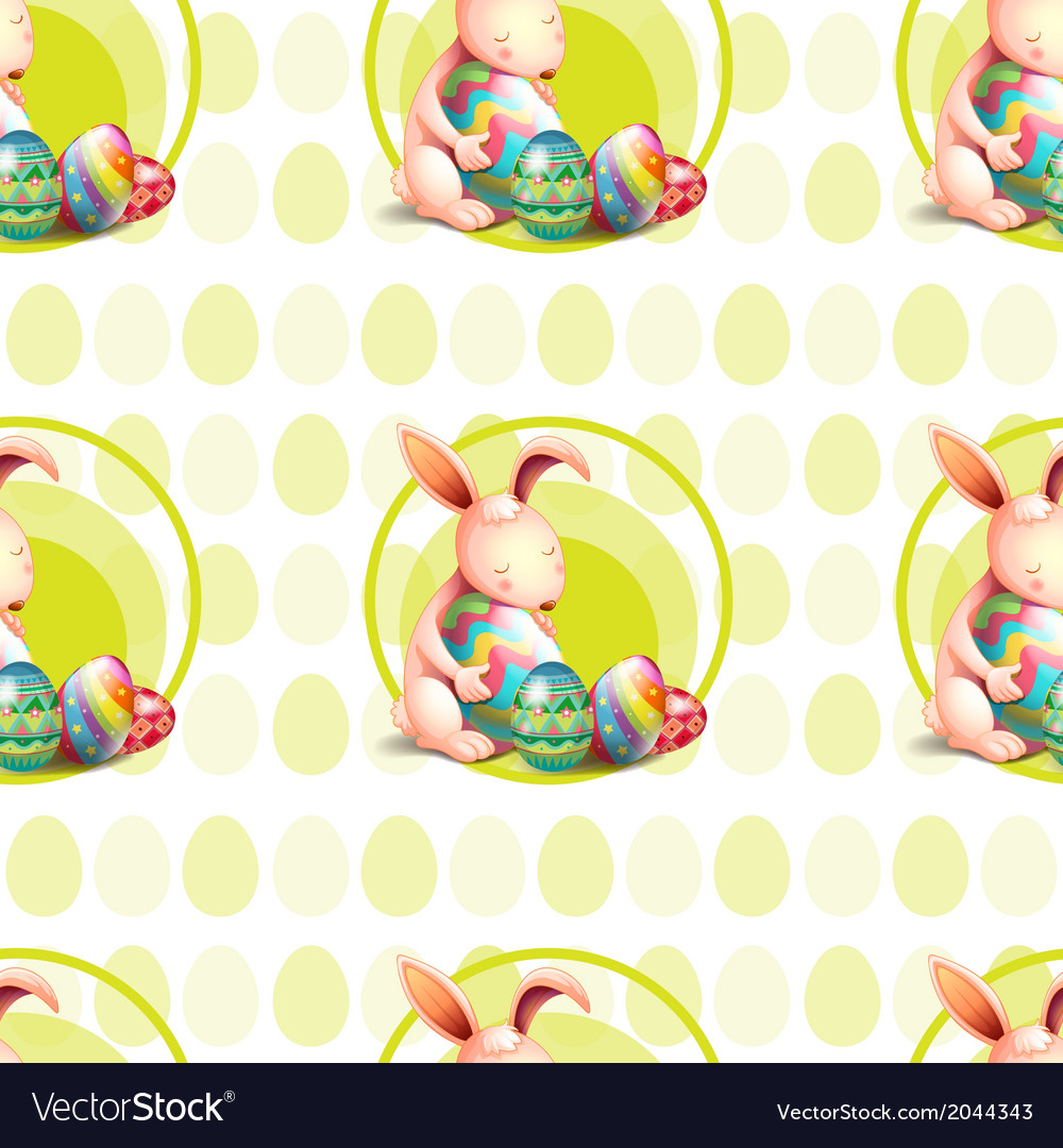 A seamless design with bunnies hugging the eggs vector | Price: 1 Credit (USD $1)