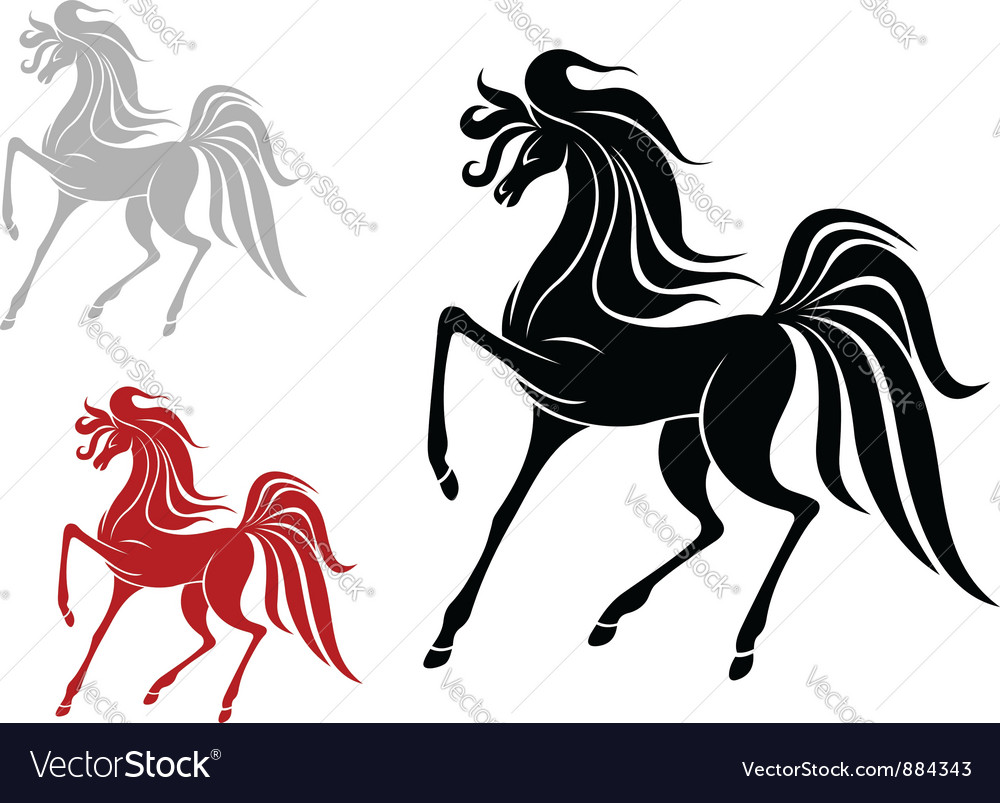 Arabian stallion in three variations vector | Price: 1 Credit (USD $1)