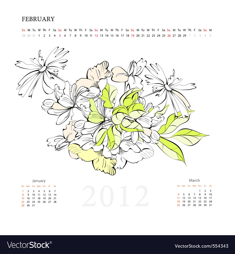 Calendar for 2012 february vector | Price: 1 Credit (USD $1)