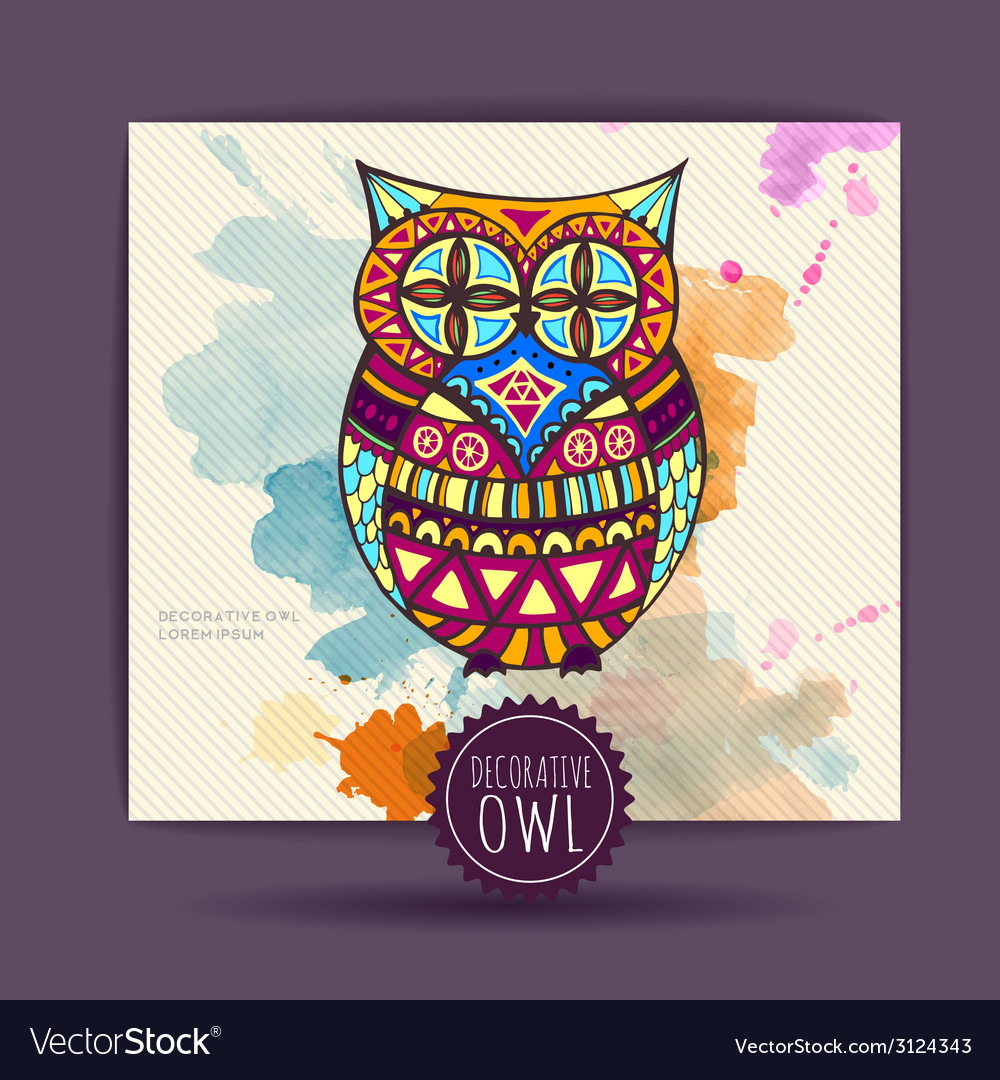 Card with decorative owl and watercolor stain vector | Price: 1 Credit (USD $1)
