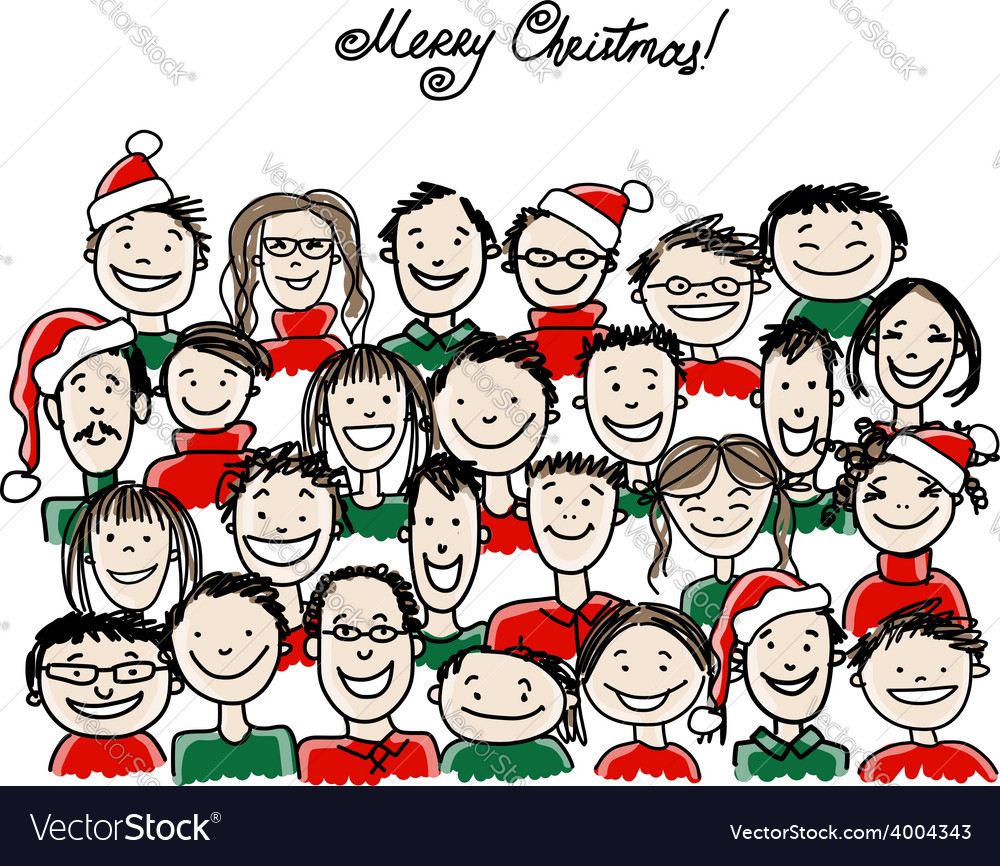 Christmas party with group of people sketch for vector | Price: 1 Credit (USD $1)