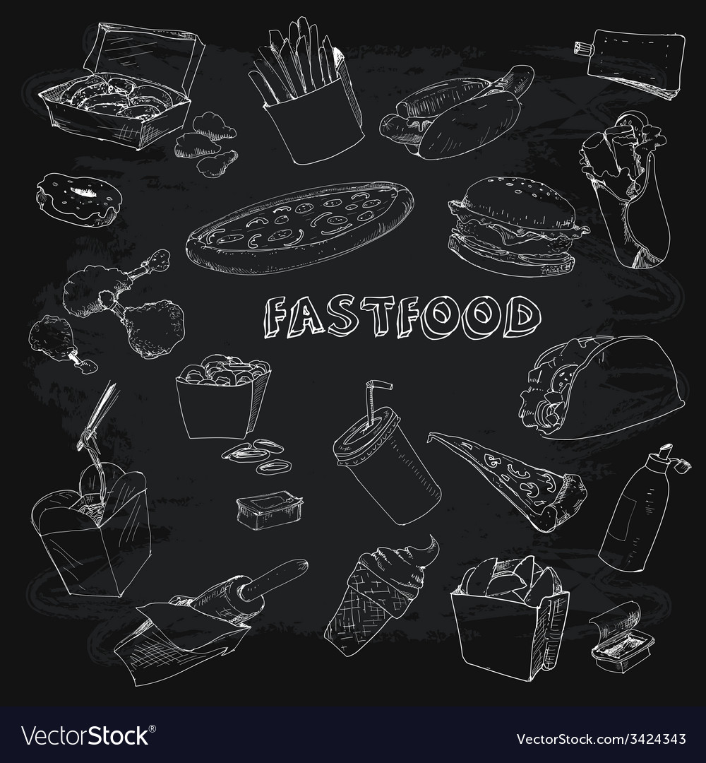 Fastfood collectionon chalkboard vector | Price: 1 Credit (USD $1)