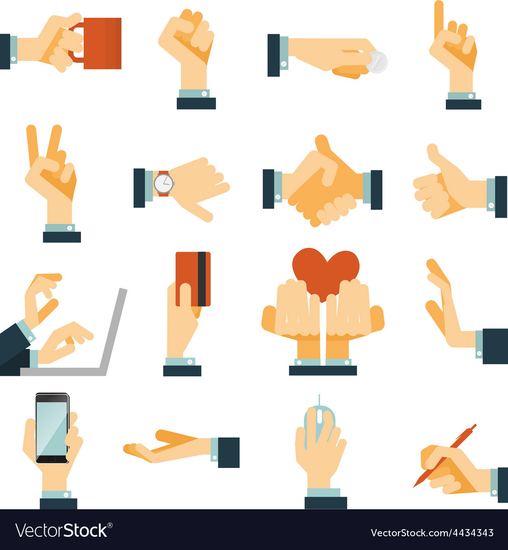 Hand icons set flat vector | Price: 1 Credit (USD $1)