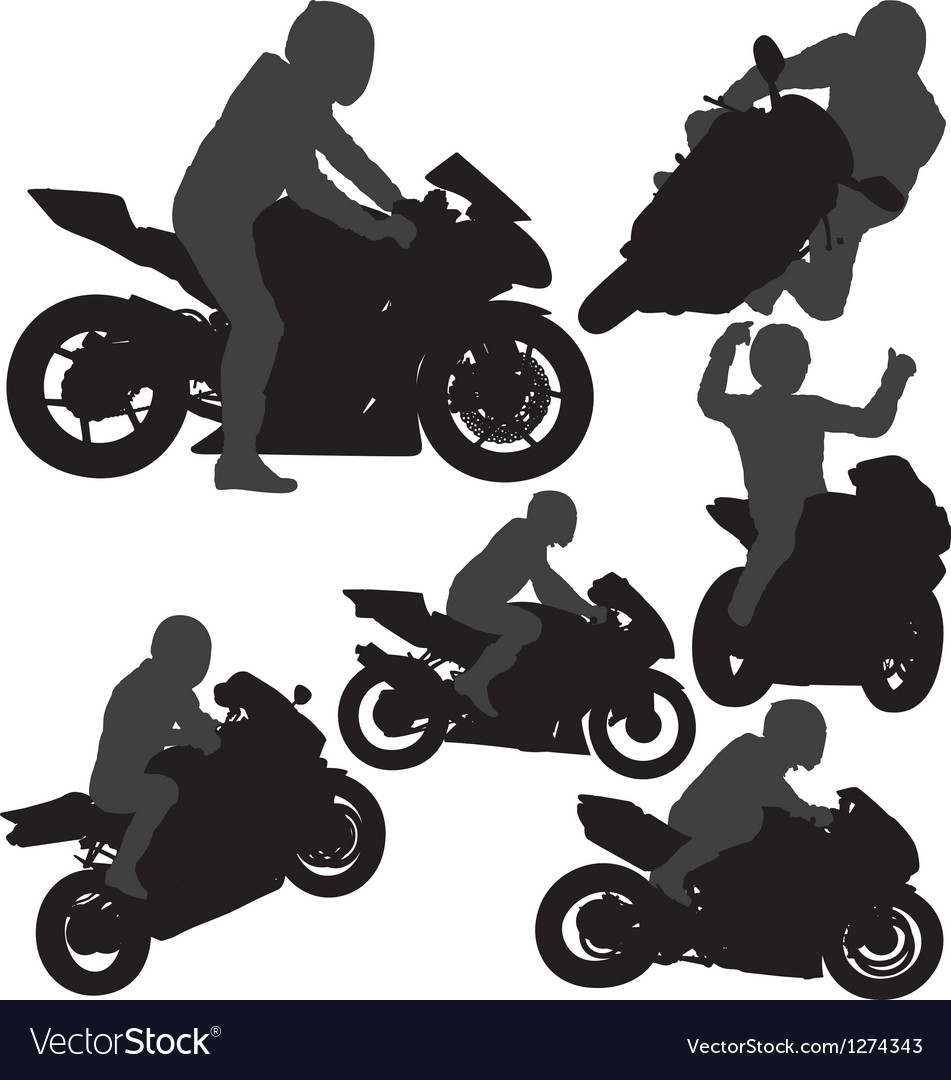 Motorcycle rider silhouettes vector | Price: 1 Credit (USD $1)