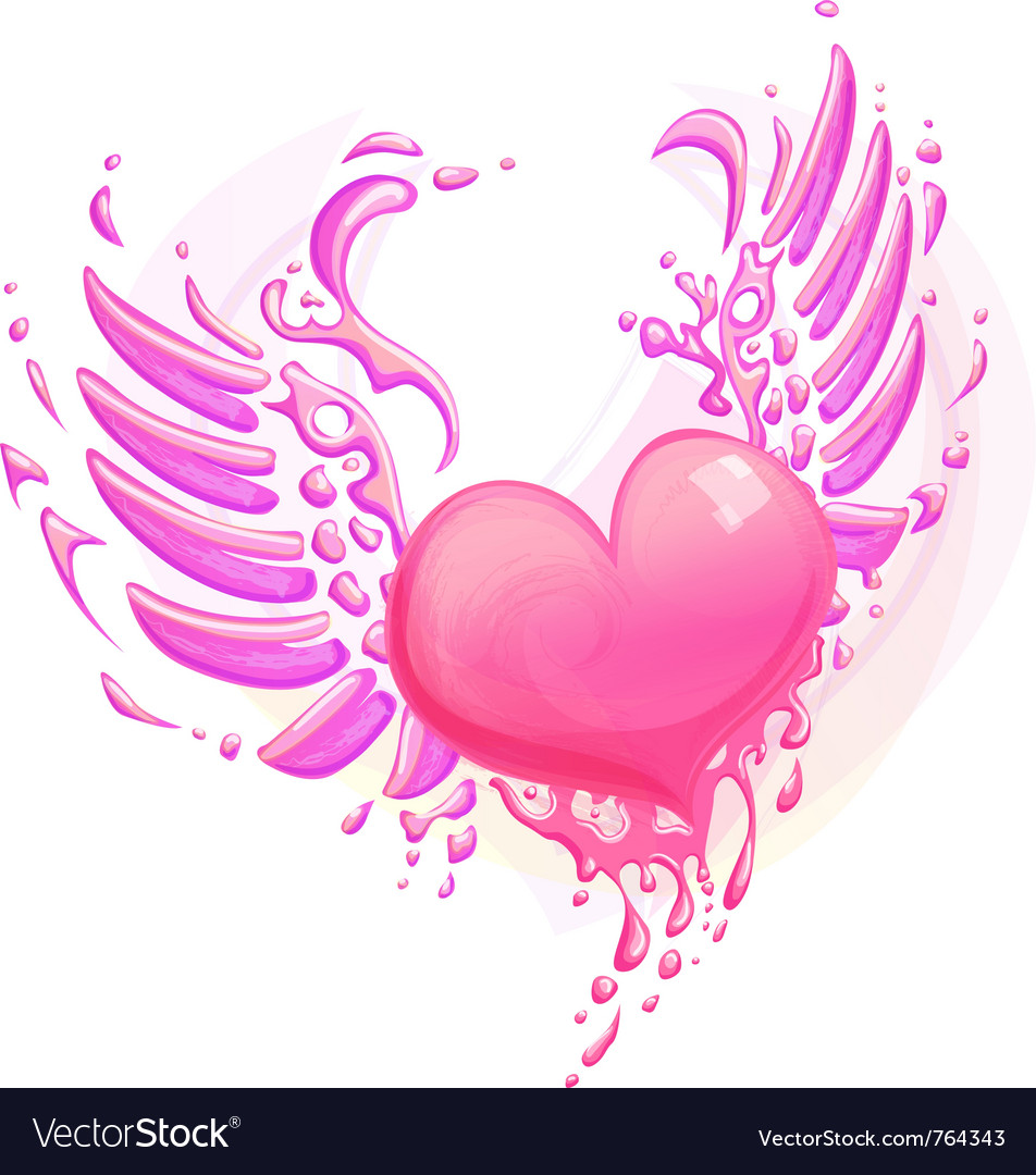 Pink heart with wings vector | Price: 3 Credit (USD $3)
