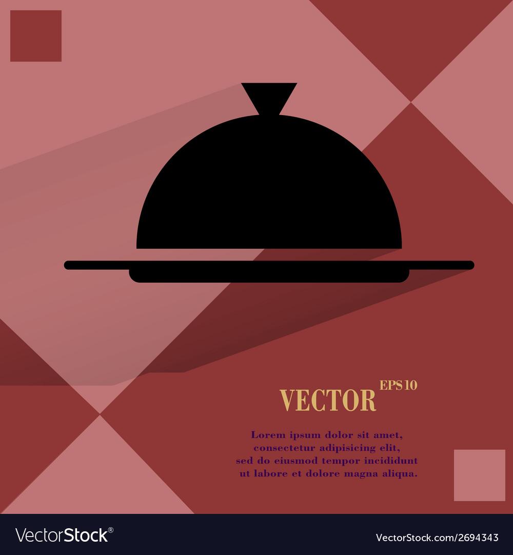Restaurant cloche flat modern web buttonon a flat vector   Price: 1 Credit (USD $1)