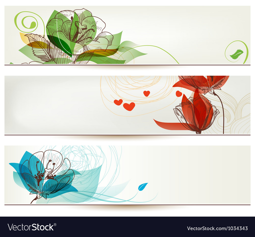 Retro romantic floral banners vector