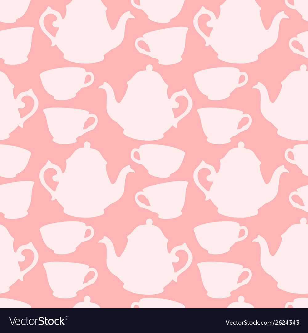 Seamless pattern with decorative cups and teapots vector | Price: 1 Credit (USD $1)