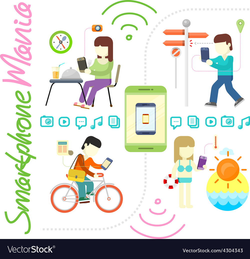 Smartphone and social media mania vector | Price: 1 Credit (USD $1)