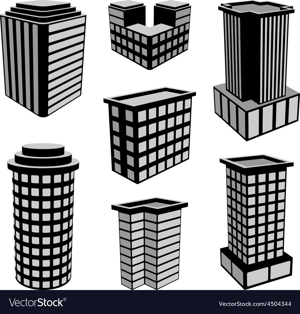 3d office buildings icons vector   Price: 1 Credit (USD $1)