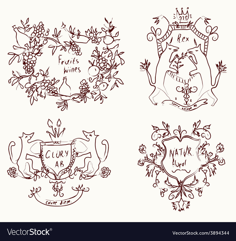 Coats of arms set - retro design in sketch vector | Price: 1 Credit (USD $1)