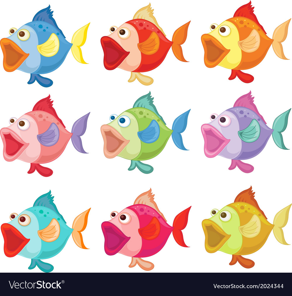 Colorful fishes vector | Price: 1 Credit (USD $1)
