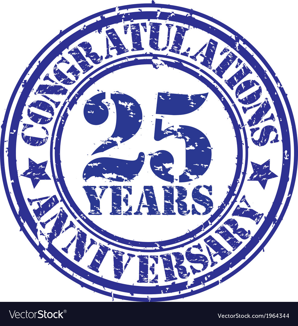 Congratulations 25 years anniversary grunge rubber vector | Price: 1 Credit (USD $1)